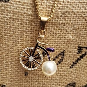 New Betsy Johnson jeweled tricycle necklace